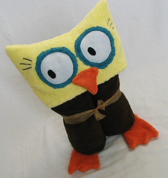 OWL hooded bath towel - Brown- Great Easter, Baby Shower or Birthday Gift for baby toddler and child