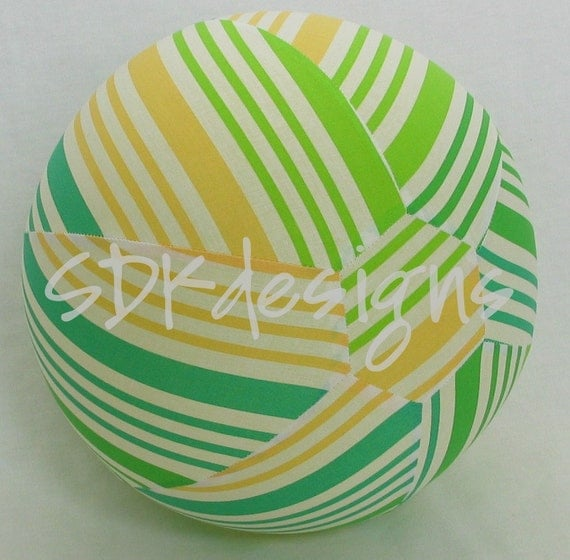 Fabric Balloon Ball TOY -Lime Green & Yellow Fresh Stripes - Great KIDS Gift - Last one