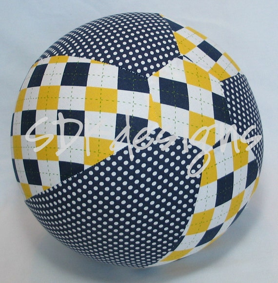 Balloon Ball Toy - Navy Blue & Maize Yellow Argyle (go blue) - All Ages FUN as seen with Michelle Obama