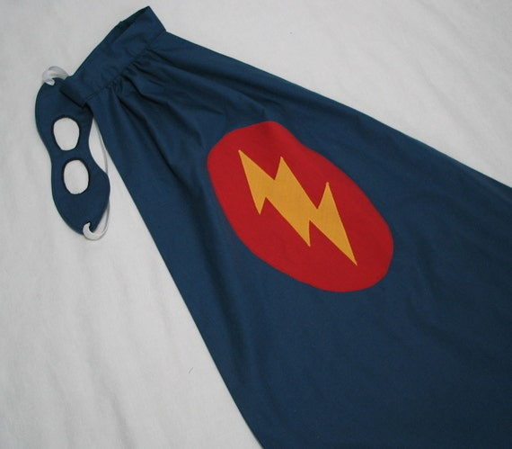 Little Super Hero Cape and Mask Set - Navy Blue with Lightning Bolt - Great Birthday Gift or Photo Prop