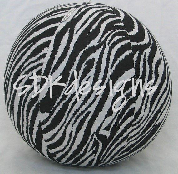 Balloon Ball TOY - ZEBRA zoo animal print fabric - As seen with Michelle Obama on Parenting.com