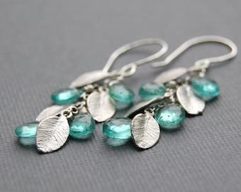 Falling Leaves Earrings - Apatite Gemstones with Silver