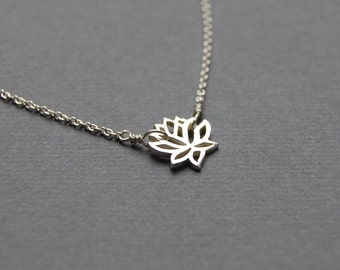 Simple Lotus Blossom Necklace in Sterling Silver