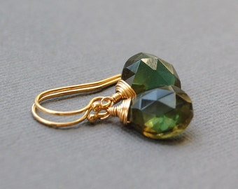 Dark Green Quartz Earrings in Gold Filled or Sterling Silver, Delicate Simple Dangles, Faceted Gemstones