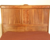 Claro Walnut Burl Bed Headboard & Footboard - Gorgeous Antique Full-Sized Bed Frame with Embossed Floral Placques