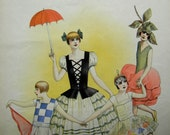 Vintage French Masquerade Costume Print - Flowery Young Girls Welcome Spring