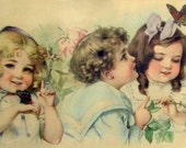 Antique Chromolithograph Print - Butterfly Time by Maud Humphrey 1903 - Yard Long, Framed, Victorian Children'