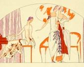 Print: French Fashion Pochoir - Gazette du Bon Ton, 1921 - 2 Sided Matted & Framed Print