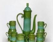Decorama Coffee Service: Hollywood Regency Coffeepot, Mugs, Cream & Sugar in Aqua/Teal/Green, Orig. Box