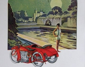 Vintage Print, Indian Motorcycle Ad, 1927: Flapper in Twilight Under Full Moon, 4-Color Engraving