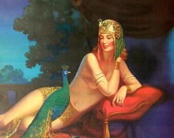 1934 Pinup Poster: Art Deco Egyptian Revival Eggleston Cleopatra - Huge, Framed Boudoir Calendar Art