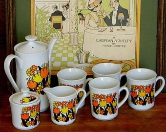 Vintage Mod Coffee Service - 1970s Pop Art Flowers - Tulips & Daisies in Tangerine, Mustard and Chocolate - MIJ