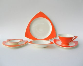 Create Your Own Custom Salem Dinnerware Set: Atomic Art Deco Streamline / Tricorne in Mandarin Orange, Wedding Registry Options Available