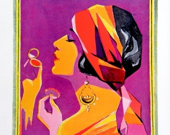 Modernistic Gypsy Flapper, Vintage Cosmetics Ad: 1920s Art Deco Color Engraving, Radiant Bright Colors