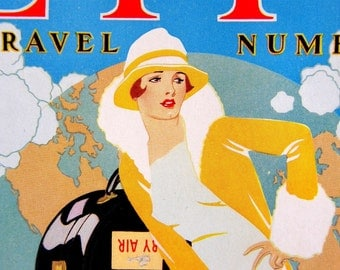 Coles Phillips Life Mag Cover, Art Deco Ad Sample, Traveling Flapper on Vintage Suitcases: 1927 Color Engraving Print