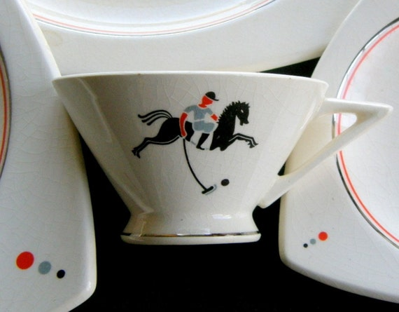 Atomic Art Deco Cup & Saucer: Extremely Rare Polo Pony Pattern, Salem Streamline Cup, Tricorne Saucer, 4 in all