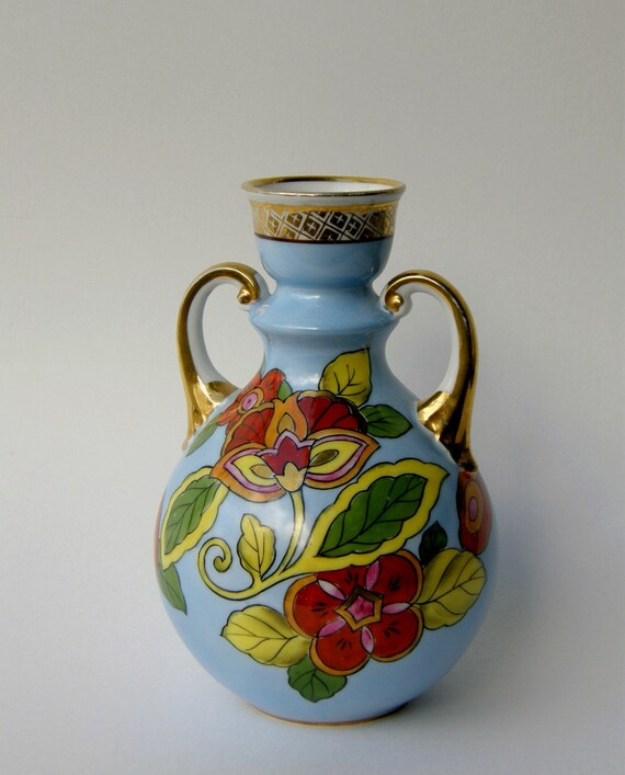 Gorgeous Noritake Vintage Vase - Tropical Flowers in Scarlet Red, Lemon Yellow, Lime Green, Robins Egg Blue, Gold Trim