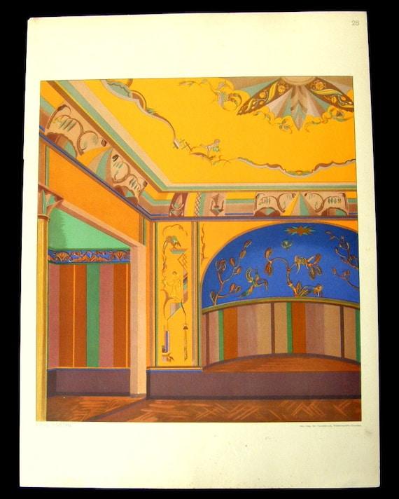 1920s Bauhaus Architectural Interior Design Print by Paul Knothe No. 28