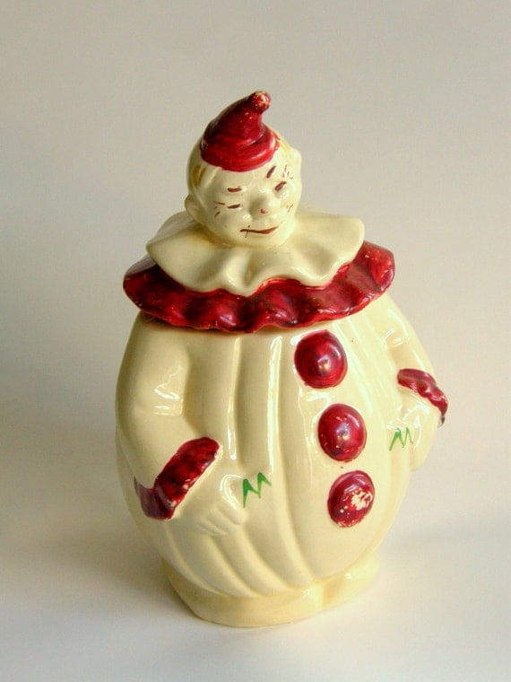 Clown Cookie Jar: Pan American Art Pottery - Yellow with Red Cold Paint