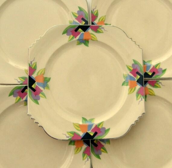 Art Deco Tulip Dinner Plate - Leigh Ware Paris - RESERVED for Kyle Hepp Wedding Gift Registry