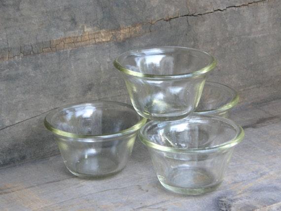 Art Deco Glass Custard Ramekin Cups: GlasBak 285, Set of 4