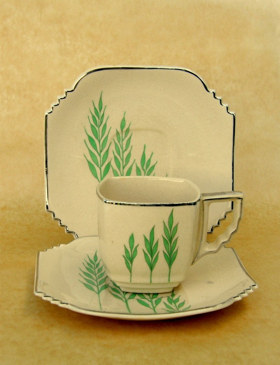 Rare Art Deco Demitasse Cup & Saucer Set, Leigh Ware Green Wheat, Square Ultra Shape, Multiples Available, Free US Shipping