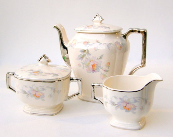Art Deco Coffee Set: American Limoges China, Shabby Pink Rose Silver Moon Pattern - Pristine Condition