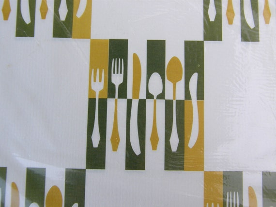 Don Galindo MidCentury Paper Placemats by Monogram of CA: Retro Flatware Design, Sixties Paper Party Picnic Ware, NIP