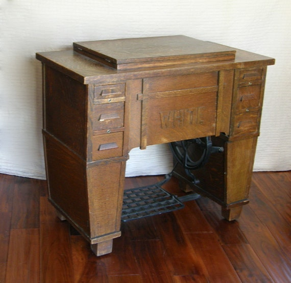 Antique White Family Rotary Sewing Machine in Mission / Craftsman Style Cabinet, 1912-1913 RESERVED for Brian