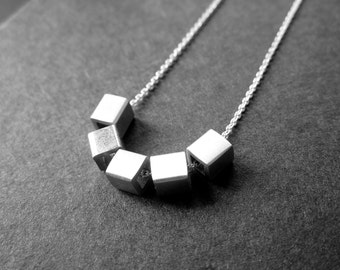 5 Aside Necklace. Sterling silver. Handmade. Contemporary Design.