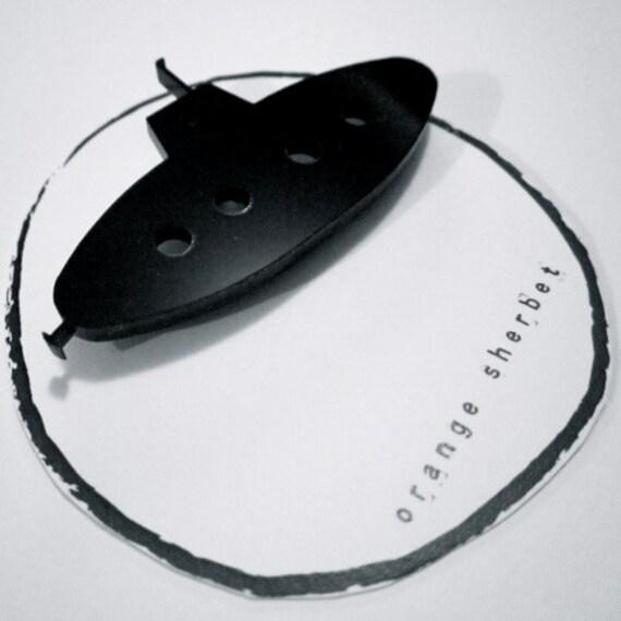 Submarine brooch. Acrylic. Laser cut. Handmade. Contemporary design.