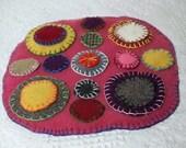 Random Colors Penny Rug Candle Mat