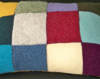 Upcycled felted wool pillow