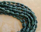 Dark Green Jade Semi Precious Teardrop Beads, Supplies
