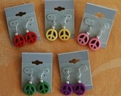 Peace Sign Earrings, Stone, teenagers, dangle, pink, purple, yellow, red, green