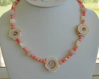 Fun Shell, Coral Necklace Set, Summer, Beachy
