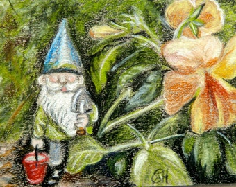 Original ACEO art Gnome with pansy in colored pencil