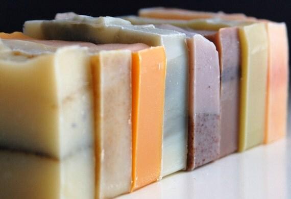 Three bars of Mirasol Farm organic soap, vegan and cold-processed