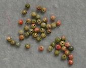4 dozen  3mm Round Natural Unakite Gemstones  (136)