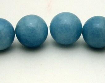 6 Round 20mm Blue Chalcedony Quartz Bead Gemstones (320)