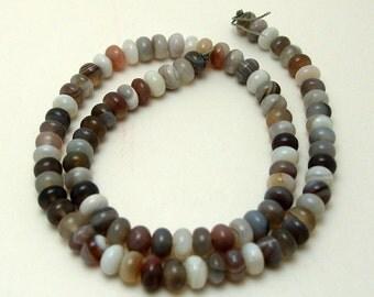 Full Strand of 6mm Rondelles Botswana Agate Gemstones (8)