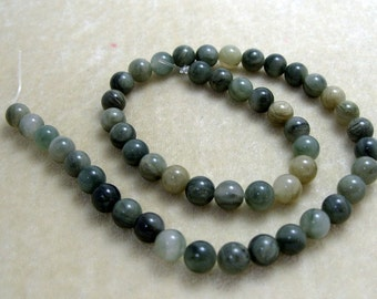 Full Strand  10mm Round Green Line Jasper Gemstones (169)