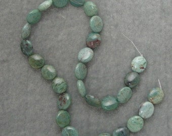 16 inch Strand of Natural African Jade  14mm by 12mm Oval Gemstones (209)