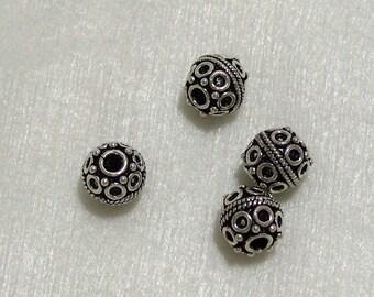 4 8mm Bali Bead Spacers in Sterling Silver Findings (511)