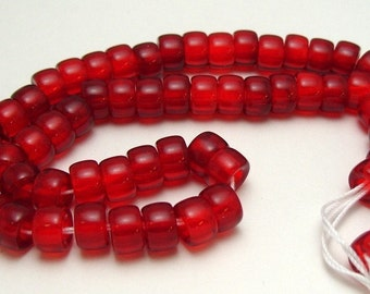 9mm x 6mm Strand Jablonex Pressed Glass Roller Crow Pony Beads in  Ruby (63)