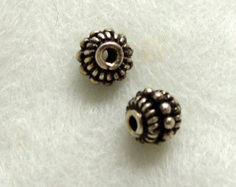Sterling Silver Bali Beads 7mm by 6mm Rondelle  Findings (508)