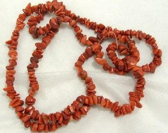 Strand of Gemstone Red Malachite Chips (410)