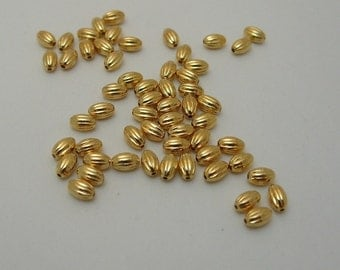 100 5mm x 3mm Oval Gold Plated over Brass Corregated Bead Findings (529)