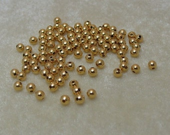 100 4mm Gold PLated over Brass Spacer Beads findings (526)