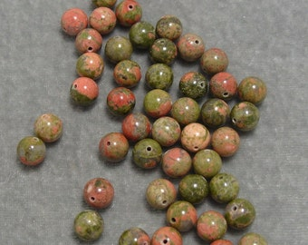 Full Strand 8mm Round Unakite Gemstones (141)